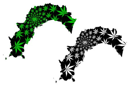 Kochi  Prefecture (Administrative divisions of Japan, Prefectures of Japan) map is designed cannabis leaf green and black, Kochi map made of marijuana (marihuana,THC) foliage,