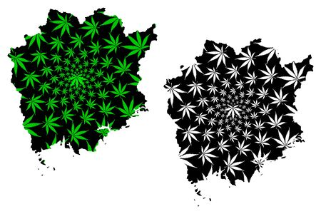 Okayama Prefecture (Administrative divisions of Japan, Prefectures of Japan) map is designed cannabis leaf green and black, Okayama map made of marijuana (marihuana,THC) foliage,
