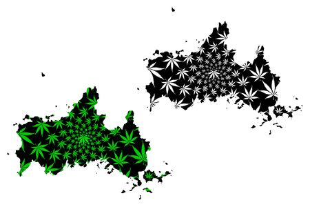 Yamaguchi Prefecture (Administrative divisions of Japan, Prefectures of Japan) map is designed cannabis leaf green and black, Yamaguchi map made of marijuana (marihuana,THC) foliage,
