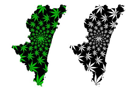 Miyazaki Prefecture (Administrative divisions of Japan, Prefectures of Japan) map is designed cannabis leaf green and black, Miyazaki map made of marijuana (marihuana,THC) foliage,