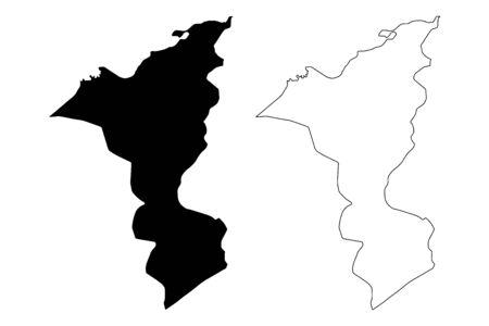 Cortes Department (Republic of Honduras, Departments of Honduras) map vector illustration, scribble sketch Cortés map 일러스트