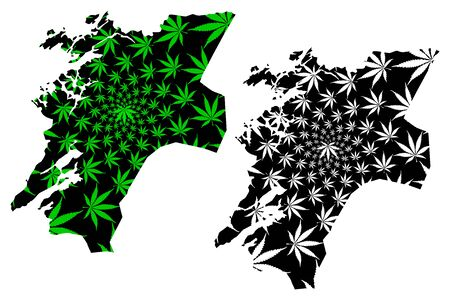 Nord-Trondelag (Administrative divisions of Norway, Kingdom of Norway) map is designed cannabis leaf green and black, Nord-Trondelag fylke map made of marijuana (marihuana,THC) foliage, Standard-Bild - 128779287