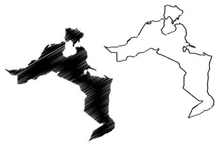 Medenine Governorate (Governorates of Tunisia, Republic of Tunisia) map vector illustration, scribble sketch Medenine map