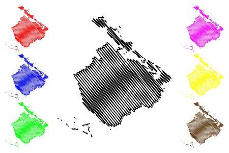 Camaguey Province (Republic of Cuba, Provinces of Cuba) map vector illustration, scribble sketch Camagüey map Ilustração