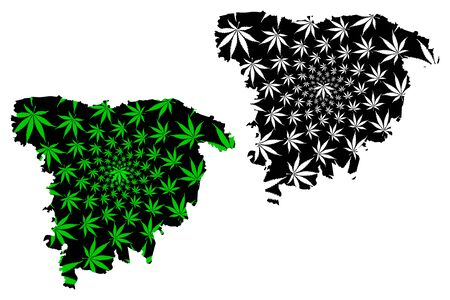 Sylhet Division (Administrative Divisions of Bangladesh) map is designed cannabis leaf green and black, Greater Sylhet map made of marijuana (marihuana,THC) foliage,