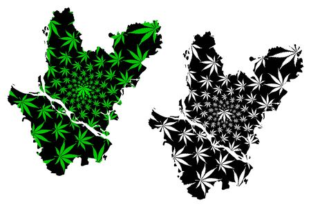Dhaka Division (Administrative Divisions of Bangladesh) map is designed cannabis leaf green and black, Dhaka map made of marijuana (marihuana,THC) foliage,
