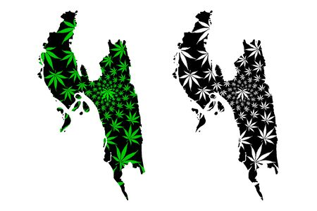 Chittagong Division (Administrative Divisions of Bangladesh) map is designed cannabis leaf green and black, Chattogram map made of marijuana (marihuana,THC) foliage, Illustration