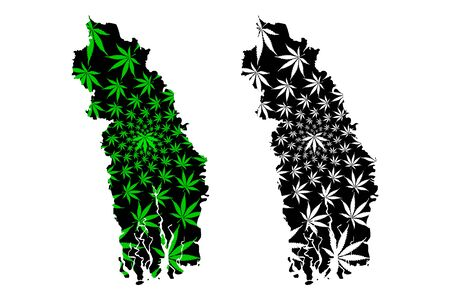 Khulna Division (Administrative Divisions of Bangladesh) map is designed cannabis leaf green and black, Khulna map made of marijuana (marihuana,THC) foliage,