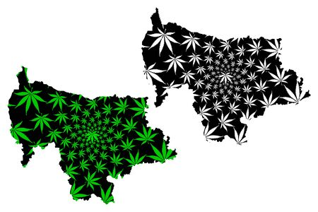 Mymensingh Division (Administrative Divisions of Bangladesh) map is designed cannabis leaf green and black, Mymensingh map made of marijuana (marihuana,THC) foliage,