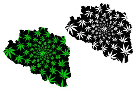 Rajshahi Division (Administrative Divisions of Bangladesh) map is designed cannabis leaf green and black, Rajshahi map made of marijuana (marihuana,THC) foliage,