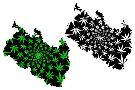 Rangpur Division (Administrative Divisions of Bangladesh) map is designed cannabis leaf green and black, Rangpur map made of marijuana (marihuana,THC) foliage,
