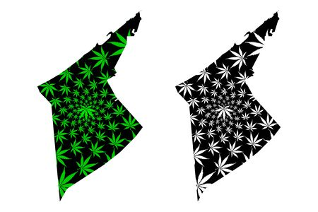 Alexandria Governorate (Governorates of Egypt, Arab Republic of Egypt) map is designed cannabis leaf green and black, Alexandria map made of marijuana (marihuana,THC) foliage, Çizim