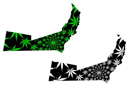 Beni Suef Governorate (Governorates of Egypt, Arab Republic of Egypt) map is designed cannabis leaf green and black, Beni Suef map made of marijuana (marihuana,THC) foliage,