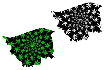 Kafr El Sheikh Governorate (Governorates of Egypt, Arab Republic of Egypt) map is designed cannabis leaf green and black, Kafr El Sheikh map made of marijuana (marihuana,THC) foliage,