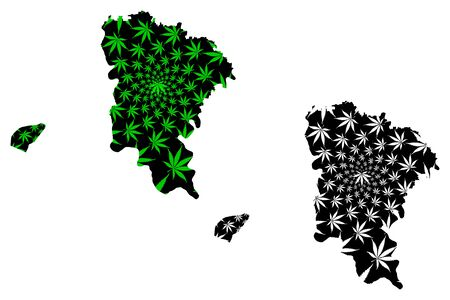 Monufia Governorate (Governorates of Egypt, Arab Republic of Egypt) map is designed cannabis leaf green and black, Monufia map made of marijuana (marihuana,THC) foliage,