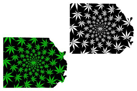 New Valley Governorate (Governorates of Egypt, Arab Republic of Egypt) map is designed cannabis leaf green and black, El Wadi El Gedid map made of marijuana (marihuana,THC) foliage,