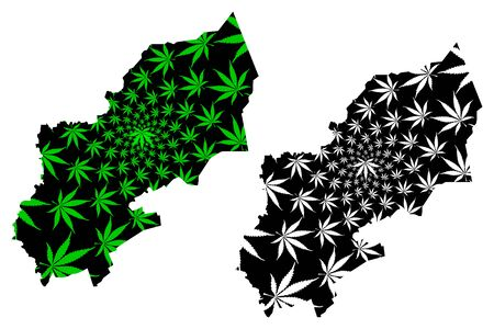 Sharqia Governorate (Governorates of Egypt, Arab Republic of Egypt) map is designed cannabis leaf green and black, Sharqia map made of marijuana (marihuana,THC) foliage, Çizim
