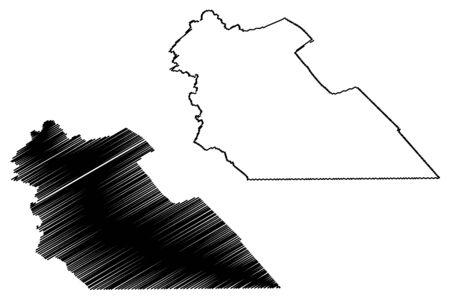 Amman Governorate (Hashemite Kingdom of Jordan) map vector illustration, scribble sketch Muhafazat al-Asima map