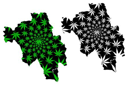 Bago Region (Administrative divisions, Republic of the Union of Myanmar, Burma) map is designed cannabis leaf green and black, Pegu Division map made of marijuana (marihuana,THC) foliage