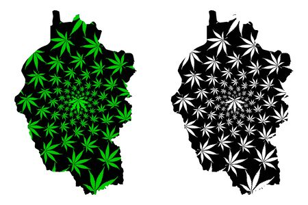 Kayah State (Administrative divisions, Republic of the Union of Myanmar, Burma) map is designed cannabis leaf green and black, Karenni State map made of marijuana (marihuana,THC) foliage