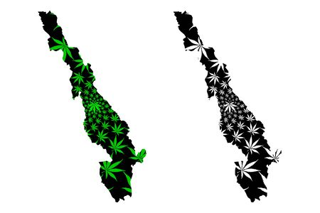 Kayin State (Administrative divisions of Myanmar, Republic of the Union of Myanmar, Burma) map is designed cannabis leaf green and black, Karen State map made of marijuana (marihuana,THC) foliage