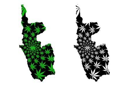 Magway Region (Administrative divisions, Republic of the Union of Myanmar, Burma) map is designed cannabis leaf green and black, Magway Division map made of marijuana (marihuana,THC) foliage Ilustrace