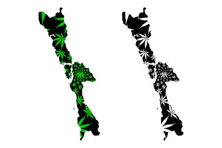 Mon State (Administrative divisions of Myanmar, Republic of the Union of Myanmar, Burma) map is designed cannabis leaf green and black, Mon State map made of marijuana (marihuana,THC) foliage