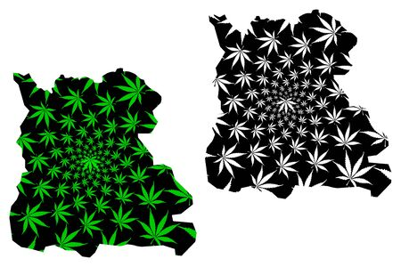 Naypyidaw Union Territory (Administrative divisions, Republic of the Union, Burma) map is designed cannabis leaf green and black, Nay Pyi Taw map made of marijuana (marihuana,THC) foliage Ilustrace
