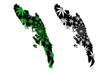 Rakhine State (Administrative divisions of Myanmar, Republic of the Union of Myanmar, Burma) map is designed cannabis leaf green and black, Arakan State map made of marijuana (marihuana,THC) foliage,
