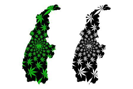 Sagaing Region (Administrative divisions, Republic of the Union of Myanmar, Burma) map is designed cannabis leaf green and black, Sagaing Division map made of marijuana (marihuana,THC) foliage,