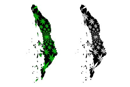 Tanintharyi Region (Administrative divisions, Republic of the Union, Burma) map is designed cannabis leaf green and black, Tenasserim Division map made of marijuana (marihuana,THC) foliage,