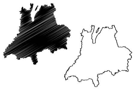 Jonkoping County (Counties of Sweden, Kingdom of Sweden) map vector illustration, scribble sketch Jönköping map
