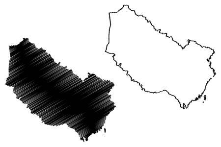 Vasterbotten County (Counties of Sweden, Kingdom of Sweden) map vector illustration, scribble sketch Västerbotten map