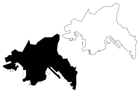 Kowloon region (Hong Kong Special Administrative Region of the Peoples Republic of China, Hong Kong SAR) map vector illustration, scribble sketch Kowloon Peninsula and New Kowloon map