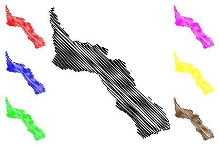Mount Athos Region (Greece, Hellenic Republic, Hellas) map vector illustration, scribble sketch Mount Athos Autonomous state map