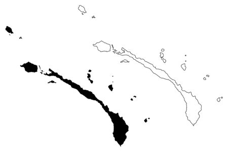New Ireland Province (Independent State of Papua New Guinea, PNG, Provinces of Papua New Guinea) map vector illustration, scribble sketch New Mecklenburg map Illusztráció