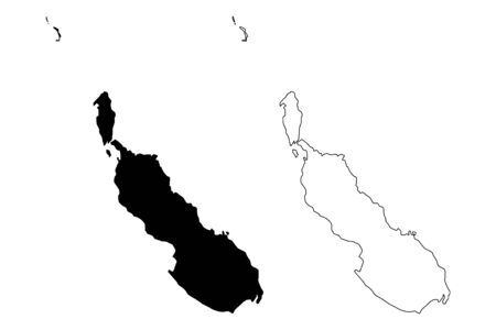 Autonomous Region of Bougainville (Independent State of Papua New Guinea, PNG, Provinces of Papua New Guinea) map vector illustration, scribble sketch North Solomons map  イラスト・ベクター素材