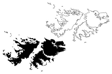 Falkland Islands (British Overseas Territory, United Kingdom) map vector illustration, scribble sketch Islas Malvinas (East and West Falkland) map Banco de Imagens - 130628487