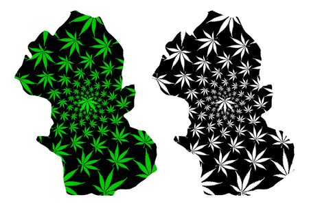 Gombe State (Subdivisions of Nigeria, Federated state of Nigeria) map is designed cannabis leaf green and black, Gombe map made of marijuana (marihuana,THC) foliage