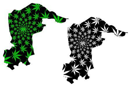 Katsina State (Subdivisions of Nigeria, Federated state of Nigeria) map is designed cannabis leaf green and black, Katsina map made of marijuana (marihuana,THC) foliage Ilustração