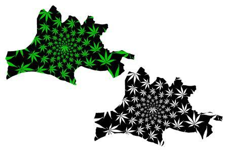 Nasarawa State (Subdivisions of Nigeria, Federated state of Nigeria) map is designed cannabis leaf green and black, Nasarawa map made of marijuana (marihuana,THC) foliage