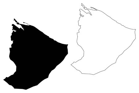 Nuqat al Khams District (Districts of Libya, State of Libya, Tripolitania) map vector illustration, scribble sketch Nuqat al Khams map