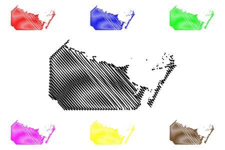 Nueces County, Texas (Counties in Texas, United States of America,USA, U.S., US) map vector illustration, scribble sketch Nueces map Illusztráció