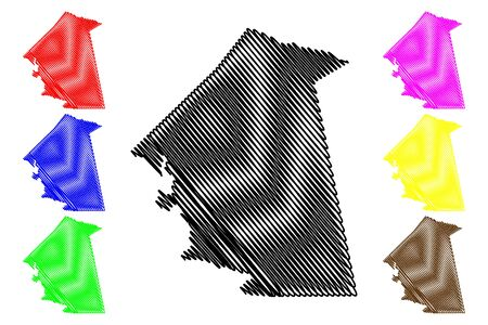 Polk County, Texas (Counties in Texas, United States of America,USA, U.S., US) map vector illustration, scribble sketch Polk map Illusztráció