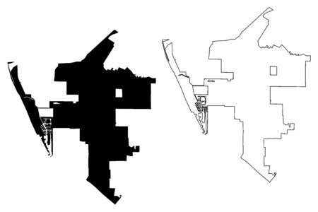 Oxnard City (United States cities, United States of America, usa city) map vector illustration, scribble sketch Oxnard map Illusztráció