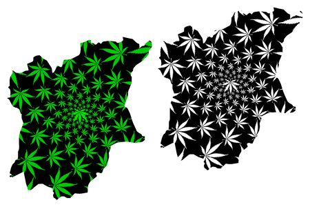 Osun State (Subdivisions of Nigeria, Federated state of Nigeria) map is designed cannabis leaf green and black, Osun map made of marijuana (marihuana,THC) foliage