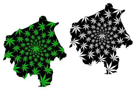 Oyo State (Subdivisions of Nigeria, Federated state of Nigeria) map is designed cannabis leaf green and black, Oyo map made of marijuana (marihuana,THC) foliage