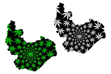 Plateau State (Subdivisions of Nigeria, Federated state of Nigeria) map is designed cannabis leaf green and black, Plateau map made of marijuana (marihuana,THC) foliage