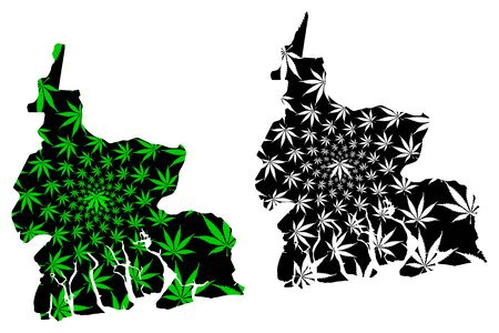 Rivers State (Subdivisions of Nigeria, Federated state of Nigeria) map is designed cannabis leaf green and black, Rivers map made of marijuana (marihuana,THC) foliage Illustration