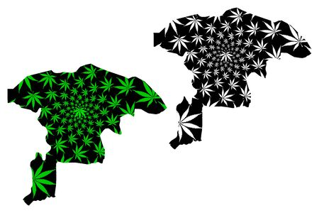 Sokoto State (Subdivisions of Nigeria, Federated state of Nigeria) map is designed cannabis leaf green and black, Sokoto map made of marijuana (marihuana,THC) foliage